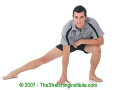 Snowboarding groin and adductor stretch