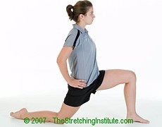 Soccer hip and quad stretch