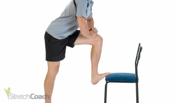 Standing leg up hamstring stretch