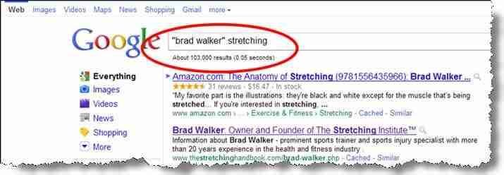 100,000 Google references for Brad Walker and Stretching