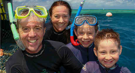 Brad Walker and family at the Great Barrier Reef