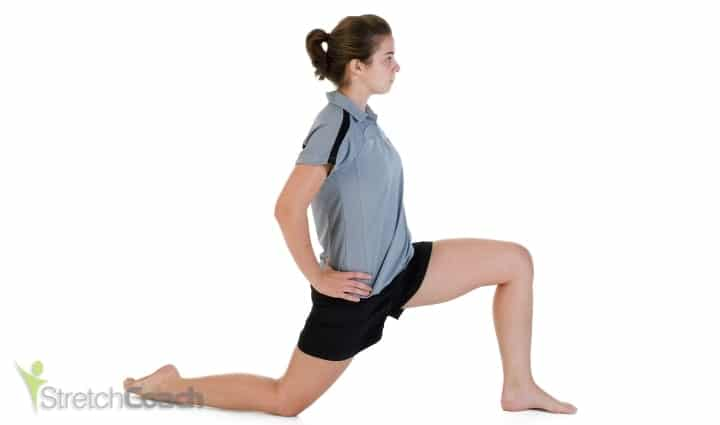 Hip and quad stretch for horse riding