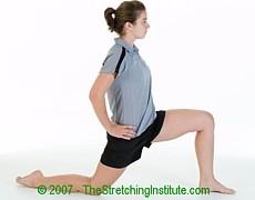 Soccer hip and quad stretch